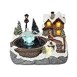 GDYJP Decorazione Natalizia Case di Neve Villaggio Musica di Natale Casa Luminosa può spruzzare Acqua Natale Ornamenti Domestici (Color : F)