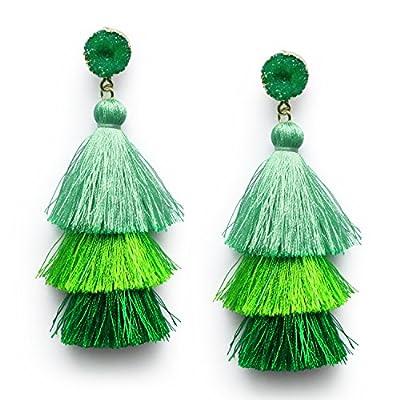 Green Tassel Earrings for Women Teen Girls Dangle Drop 3 Tier Tassel Fringe Earrings Druzy Stone Studs Christmas Earrings Saint Patrick Gifts