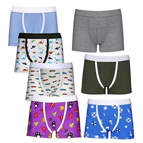 Rovtop Unterhosen Jungen Boxershorts Kinder Unterhosen Jungen Baumwolle Jungen Unterhosen 3-8 Jahre(7er Pack) (S)