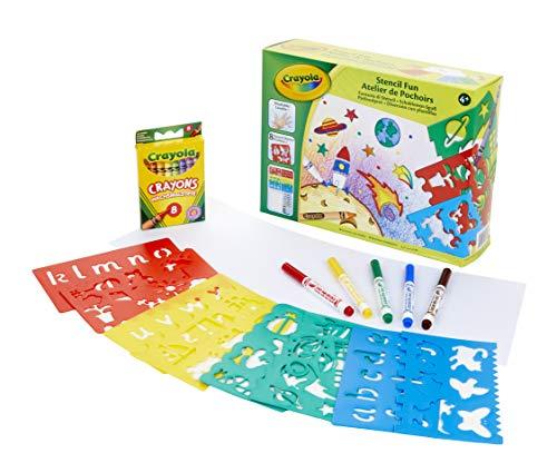 CRAYOLA- Set per Disegnare e Colorare con Gli Stencil e Pennarelli Lavabili, Pastelli a Cera e 20 Fogli di Carta Bianca, Multicolore, 04-0575