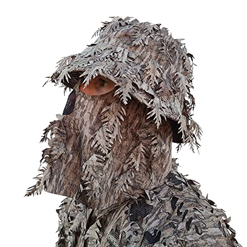 QuikCamo Mossy Oak New Bottomland Leafy Camo Face Mask Bucket Hats for Turkey Hunting, Ghillie Suits, Tactical Airsoft, Birdwatching and Wildlife Photography (Adjustable One Size Fits Most)