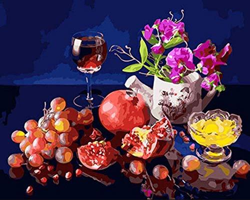 Pintar por Numeros para Niños Pintar por Numeros con Pinceles y Pinturas para la Decoración del Hogar DIY Conjunto Completo de Pinturas Sin Marco (16 * 20 Pulgadas)(Fruta de vino tinto y flores.)