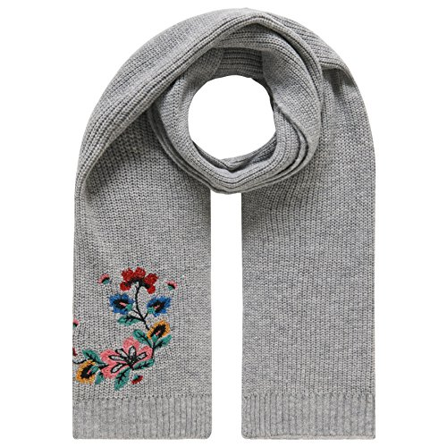 TOM TAILOR Damen embroidered chunky scarf Schal, Silber (Silver Melange 2527), One Size