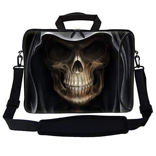 Meffort Inc 15 15.6 inch Neoprene Laptop Bag Sleeve with Extra Side Pocket, Soft Carrying Handle & Removable Shoulder Strap for 14' to 15.6' Size Notebook Computer - Skull Face