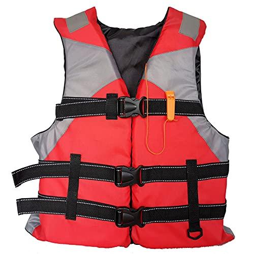 WBYY Chaleco Salvavidas Adulto, Chaleco De Natación, Chaleco Flotador con Silbato De Emergencia, para Nadar,Pesca,Kayak,Navegación,Rojo