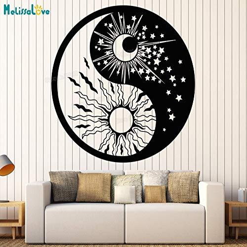 zhuziji Vinyl Wandtattoo Yin Yang Symbol Sonne Mond Buddhismus Sterne Tag Nacht Wandaufkleber Wohnkultur Wohnzimmer Kunst Einzigartige GIF schwarz 56x56 cm