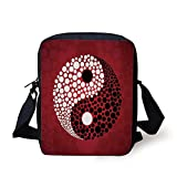FAFANIQ Ying Yang,Abstract Graphic Design Yin Yang Circle Black and White Dots Pattern Cosmos and...