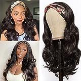 YEESHEDO Headband Wig, Pelucas de diadema ondulada largo Marrón oscuro para mujer, pelo natural de color rizado ondas peluca de Venda brasileña con 3 diademas al azar 26 '