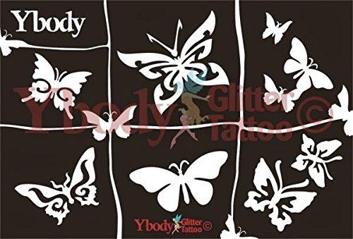 Glitzertattoo Schablonen Set Schmetterling