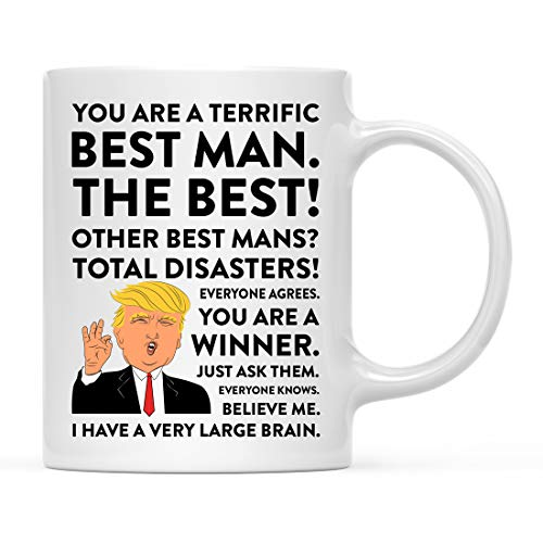 Andaz Press Funny President Donald Trump 11oz. Coffee Mug Gift, Terrific Best Man, 1-Pack, Christmas Drinking Cup Republican Democrat Political Satire for Him Wedding Bachelor Party