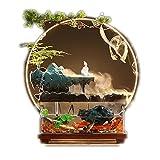Cascada interior de fuente de mesa Fuente interior Tanque de pescado Cascada de mesa, Oficina en el hogar Paisaje Fengshui Decoración Zen Relájese Regalo, Tanque de pescado de vidrio semicircular Deco