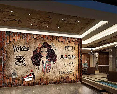 Personalidad Personalizada 3D Autoadhesivo Wallpaper salón salón salón salón Fondo Pared peluquería Papel de Parede Dormitorio 150cmx105cm(59.1x41.3inch)