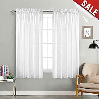 jinchan Sheer White Curtains for Bedroom 72 Inch Long Drapes Curtain Set Privacy Semi Sheers Window Drapes Casual Weave Window Curtain Set Linen Textured Sheers 1 Pair