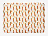 ABAKUHAUS Zanahorias Tapete para Baño, Modelo orgánico Verduras, Decorativo de Felpa Estampada con Dorso Antideslizante, 45 cm x 75 cm, Caqui pálido Vermilion