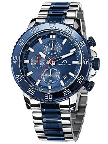 MEGALITH Relojes Hombre Reloj Cronografo Grande Elegante Azul Acero Inoxidable Impermeable Relojes de Pulsera Deportivos Analogicos Luminosos Fecha