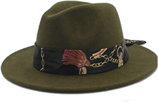 Sun Hat for men and women Soft Hat Ribbon Chain Print Fedora Men Women Hat Wool Blend Hat Outdoor Casual Hat Top Jazz Hat European American Hat Panama Hat