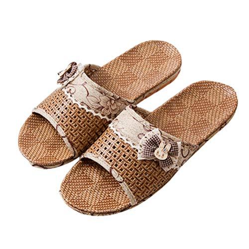 TENDYCOCO Stroh Hausschuhe Open-Toe Flip Flops Bath Spa Sommer Sandale für Frauen