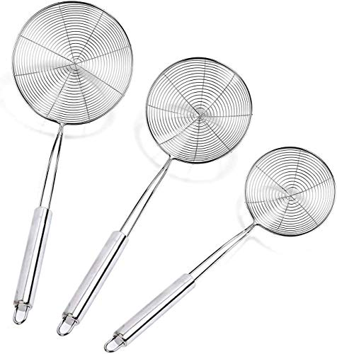 Upgrade Cymax Spider Strainer Skimmer, Set of 3 Strainer Ladle Stainless Steel Wire Skimmer Spoon with Handle for Kitchen Frying Food, Pasta, Spaghetti, Noodle