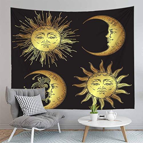 JXCDNB 150CMX130CM 3D Impreso horóscopo astrología Tapiz Colgante de Pared decoración Manta de Playa Sol y Luna Cuadrado