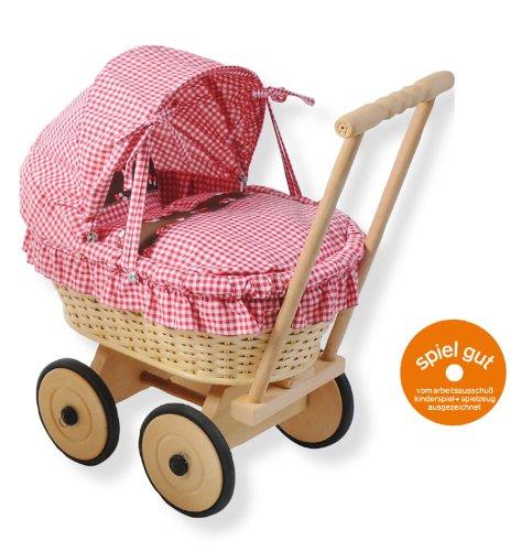 werkstatt-design Puppenwagen Glückspilz aus Korbgeflecht mit Faltdach