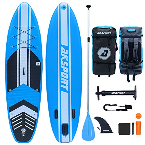 AKSPORT 10'6'×32'×6' Inflatable Stand Up Paddle Board with Premium Non-Slip Deck,Travel Backpack,Adjustable Paddle,Pump,Leash for Youth & Adult Ultra-Light Surfing ISUP