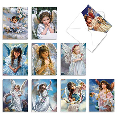 10 All Occasion 'Angelicards' Thank You Note Cards with Envelopes, Assorted Greeting Cards Featuring Adorable Child Angels, Stationery for Weddings, Baby Showers, Holidays 4 x 5.12 inch M6490TYG