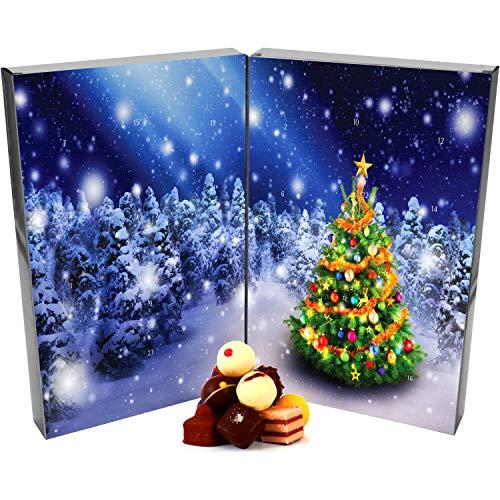 Hallingers 24 Pralinen-Adventskalender, mit/ohne Alkohol (300g) - Zauberwald (Buch-Karton) - zu Weihnachten Adventskalender