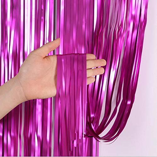 Matte Tinsel Curtain Metallic Foil Curtain 2pcs 3.2ft6.4ft Curtain Decoration for Birthday Party Party Supplies Birthday Decorations Christmas Party Backdrop Decoration (2 Pack Hot Pink)