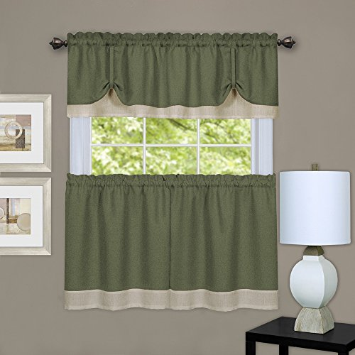 """Achim Home Furnishings, Green & Camel Darcy Window Curtain Tier and Valance Set, Pair 58"""" x 36"""" with 14"""""""