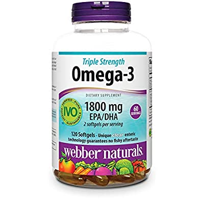 Webber Naturals Triple Strength Omega-3 Fish Oil, 1,800 mg Omega-3 (1,200 mg EPA / 600 mg DHA) per Serving, 120 Clear Enteric Softgels, No Fishy Aftertaste, for Heart, Brain and Joint Health