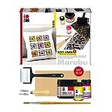 Marabu 1703000000081 - Soft Linol Print & Colouring Set, Hochdruckset für Textilien mit Softdruckplatte, Schneidewerkzeug mit Klingen, Schaumroller, Pinsel, 100ml Druckfarbe und 2 x 15ml Aquarellfarbe