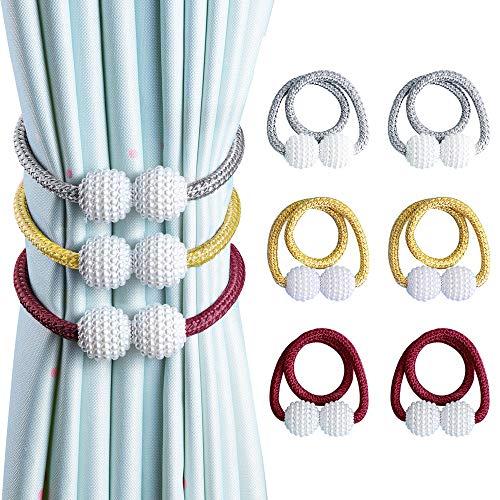OTHWAY Vorhang Raffhalter Magnetisch, Vorhanghalter Elegante Perlenperle Holdbacks Gardinenklammern mit Starken Magnet (Grau+Golden+Rote,6 Stück)