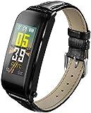 Reloj de pulsera inteligente con correa de piel, reloj inteligente Hot Sal, despertador o asistente telefónico, compatible con Android e iOS (negro)