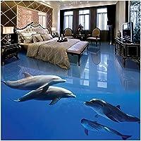 カスタム壁画 イルカ水中世界 3Dの壁紙 リビングルームテレビソファの家の装飾 -350x250cm/138x98inch