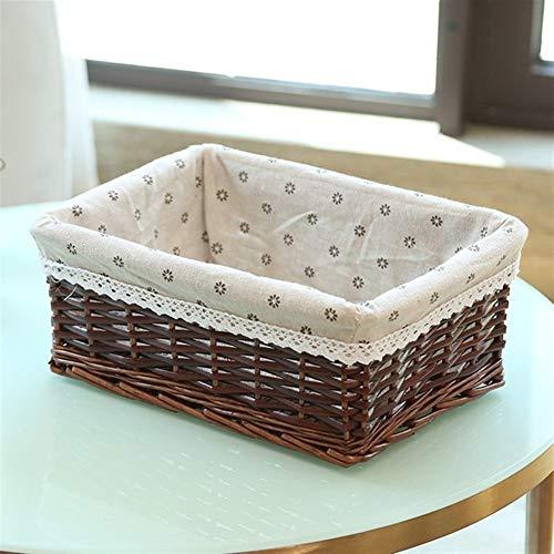 DNAMAZ Basket Rattan basket Dirty clothes basketry Desktop storage box Home Snack case Willow Fabric hoppet storage (Color : 01, Size : M(30x20x12cm))
