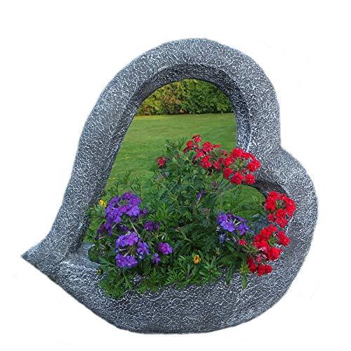 Steinfigur Großes Pflanzherz Pflanzschale Steinguss Frostfest 40 cm