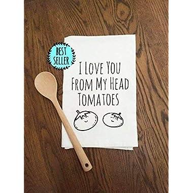 Sweet Dishcloth/Tea Towel ~ I Love You From My Head Tomatoes ~ Funny Kitchen Cloth