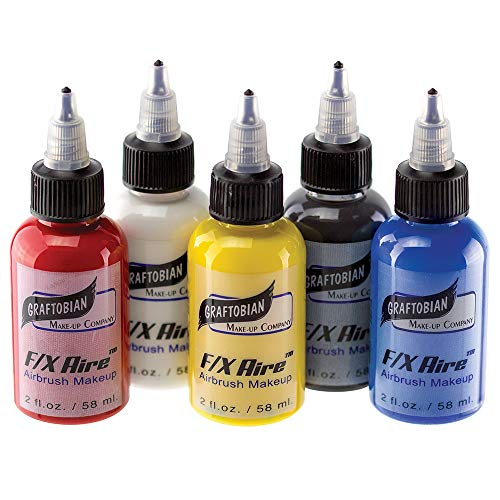 Graftobian F/X Aire Airbrush Body Paint - Primary Colors Set (5 Colors)