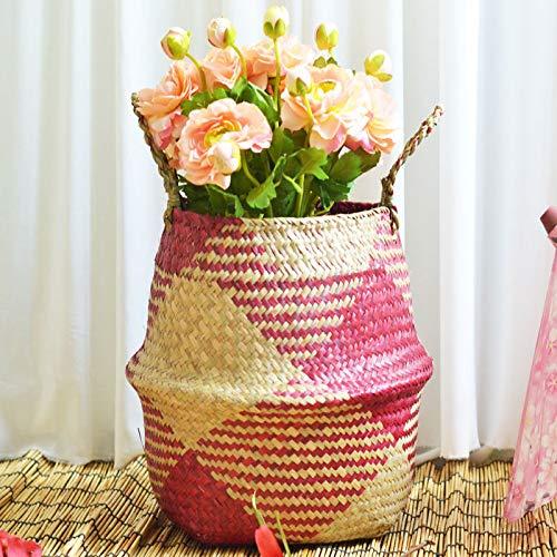 nulala Natural Seagrass Basket, gevlochten, opvouwbare bloempot, handgemaakte buikmand met handgreep voor het opbergen van was, picknick, plantenpot en strandtas Small rood