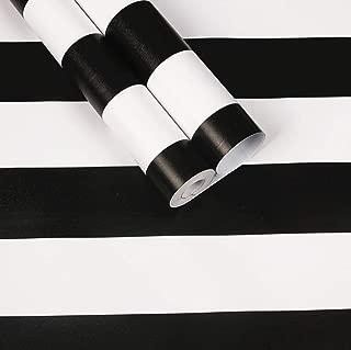 Amao Classic Black & White Striped Wallpaper Peel and Stick Self Adhesive Paper Vinyl Film for Furniture Countertops Wall Decor 17.7''x79''
