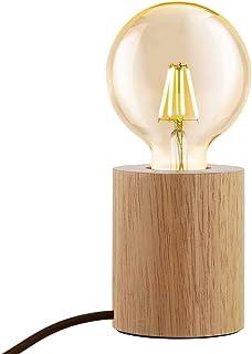 Chao Zan Lampe de table en bois ronde,lampe de table industrielle rétro,moderne,E27 lampe de chevet,lampe avec interrupteu...