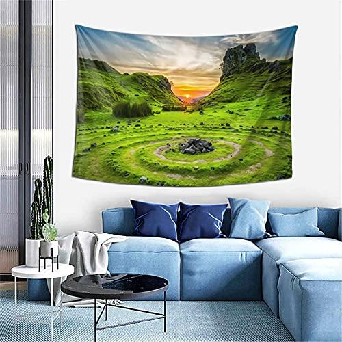 MSINCUDJ Wandteppich Grüne Wiese Skye Vereinigtes Königreich Wanddekor Tapisserie Wandbehang Langlebige Wand Tagesdecke 152X102CM