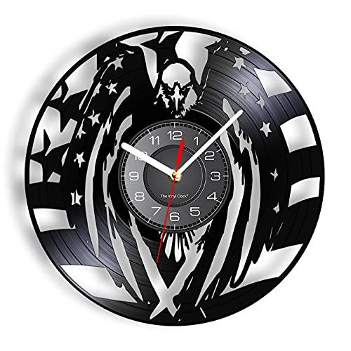 LIMN Relojes de pared de vinilo 3D Estados Unidos Vintage Decoración del hogar Patriótico American Bald CD Artesanía Reloj