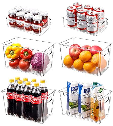 Homtops Organizer per frigorifero, set da 6 (4 grandi 2 medio), ideale per armadi da cucina o come contenitore per frigorifero