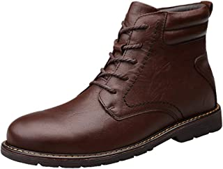 SHENTIANWEI Combat Boots for Men Ankle Boot Lace up Style Genuine Leather Stitched Waxy Shoelaces Warmth Anti Slip Outdoor (Fleece Inside Option) (Color : Brown, Size : 6.5 UK)