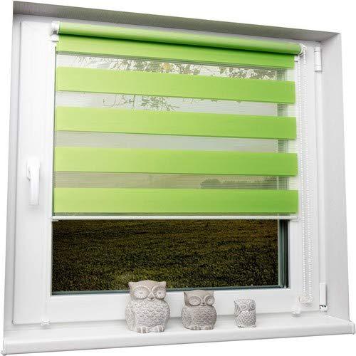 Dubbele rolluiken, duorolluiken, groen, 45x150 cm, zonder boren, trekkoord aan de zijkant, klemrolgordijn