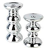 Glas Art Kerzenständer 2er Set Deko Wohnzimmer Modern Aus Keramik Tisch Dekoration Für Stabkerzen Geeignet Hochzeit Tischdeko Geburtstag Accessories (Silber)