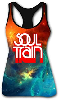 Gujigur Womens Fashion Soul Train Red Logo Sports Casual Sleeveless Vest Creative 3D Printed Graphic Hipster Design