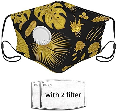 YRUI Tropische Pflanze mit glänzenden Goldblättern, wiederverwendbare Maske mit Atemventil und Filter