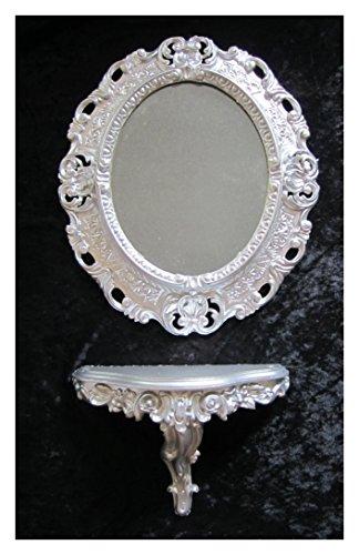 Lnxp Set de espejo de pared plateado y consola M ovalada de...